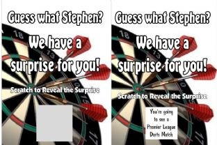 Personalised Surprise Darts Match Reveal Scratch Card